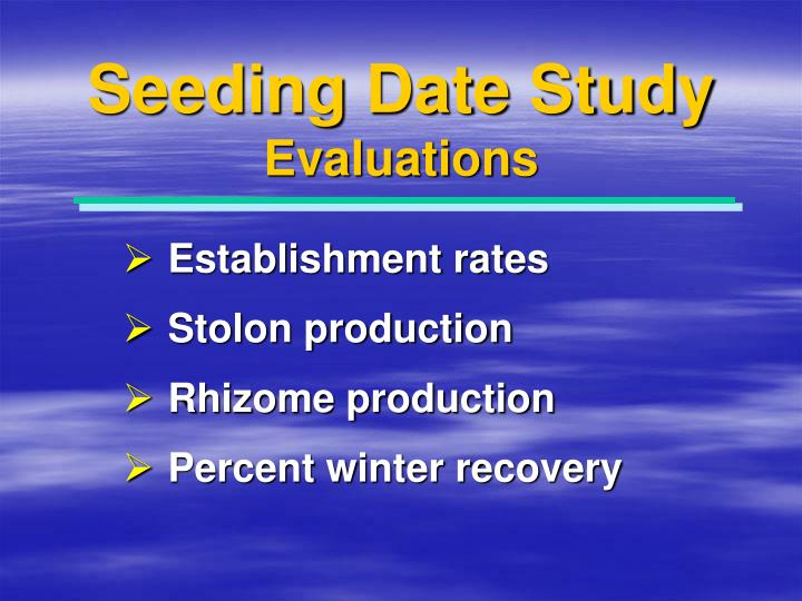 Seeding Date Study