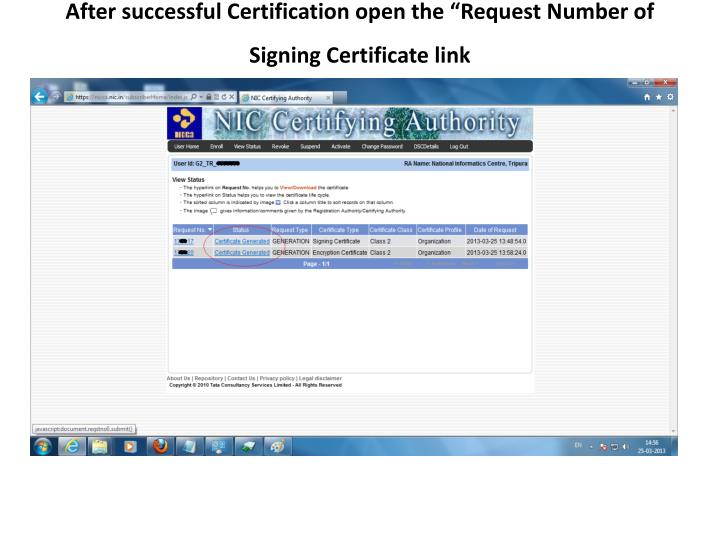"""After successful Certification open the """"Request Number of Signing Certificate link"""