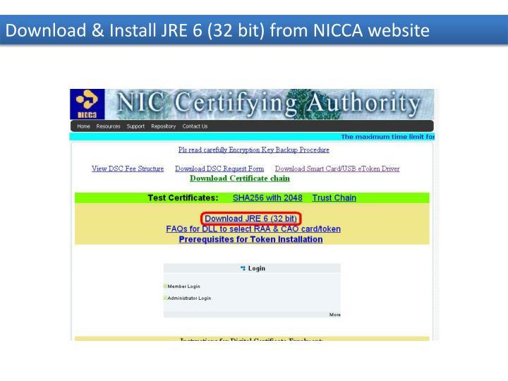 Download & Install JRE 6 (32 bit) from NICCA website