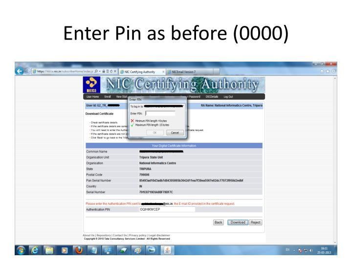 Enter Pin as before (0000)