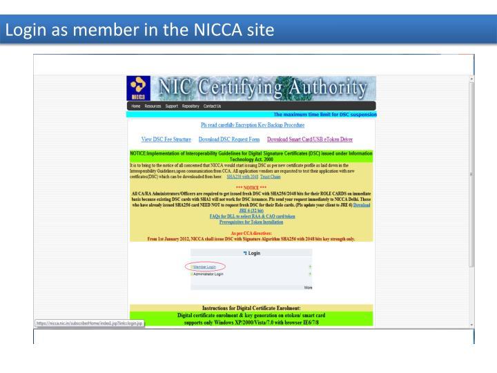 Login as member in the NICCA site
