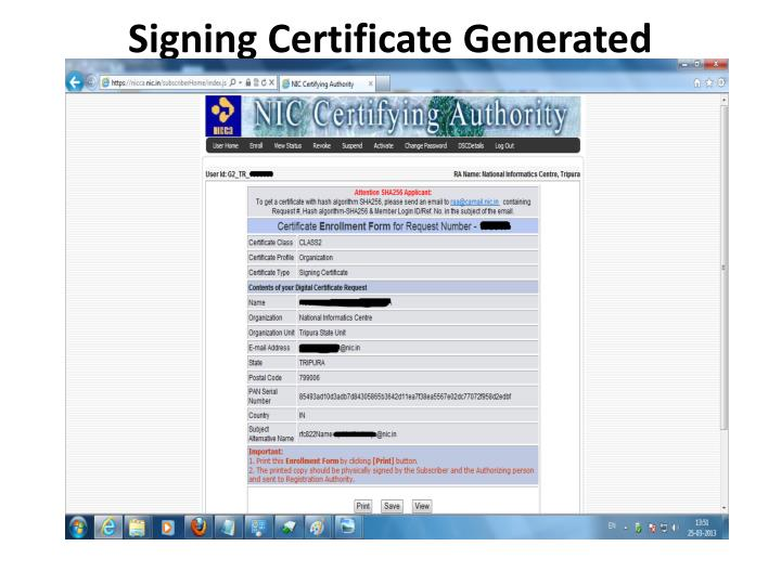 Signing Certificate Generated