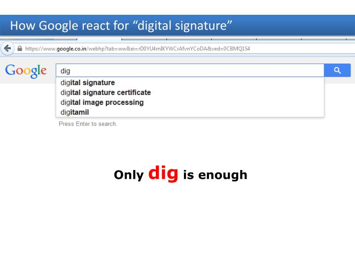 "How Google react for ""digital signature"""