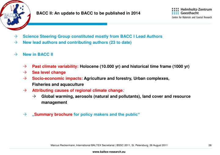 BACC II: An update to BACC to be published in 2014