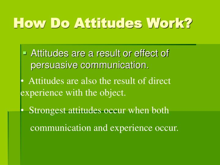 How Do Attitudes Work?