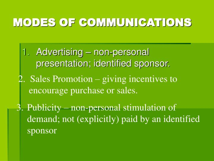 MODES OF COMMUNICATIONS