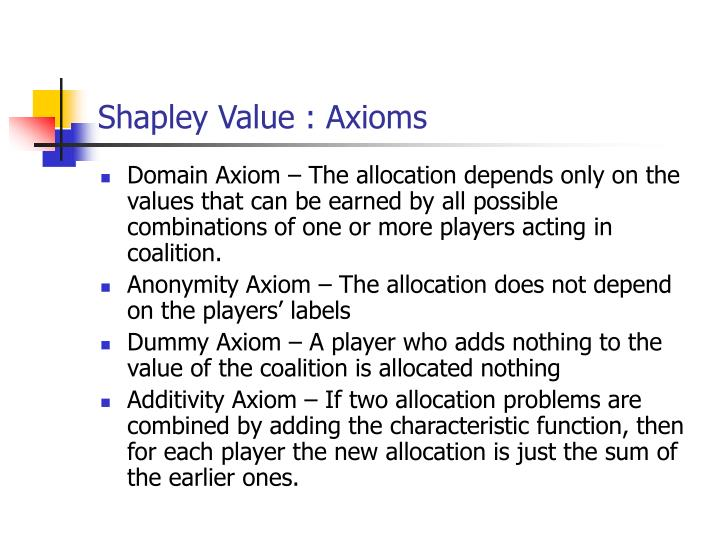 Shapley Value : Axioms