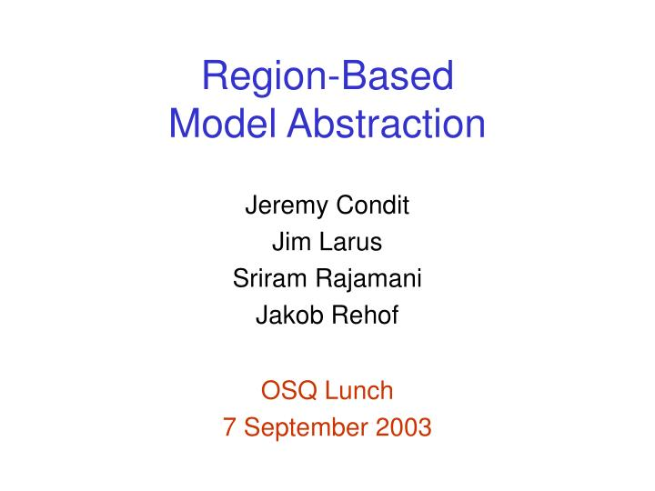 region based model abstraction