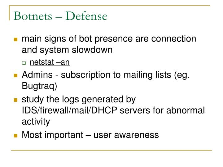 Botnets – Defense