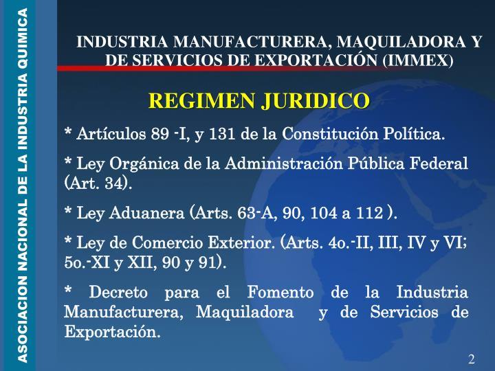 Industria manufacturera maquiladora y de servicios de exportaci n immex
