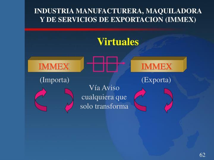 INDUSTRIA MANUFACTURERA, MAQUILADORA Y DE SERVICIOS DE EXPORTACION (IMMEX)