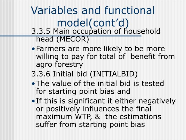 Variables and functional model(cont'd)
