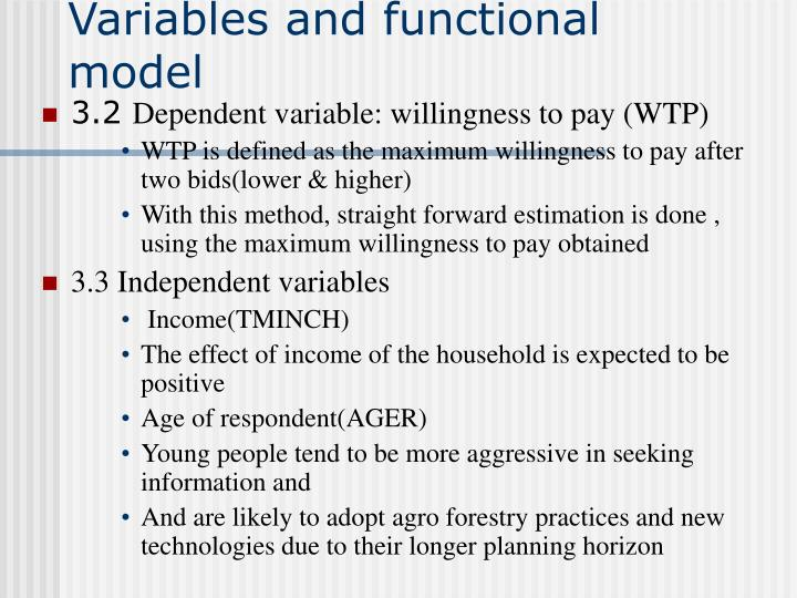 Variables and functional model