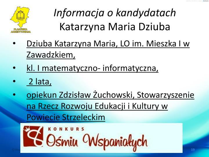 Informacja o kandydatach