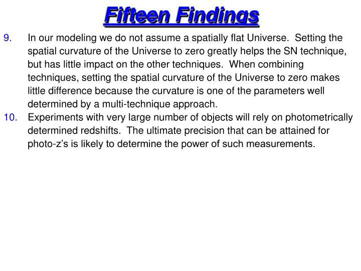 Fifteen Findings