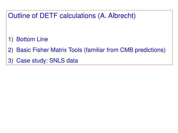 Outline of DETF calculations (A. Albrecht)