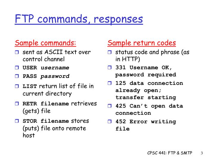 Sample commands: