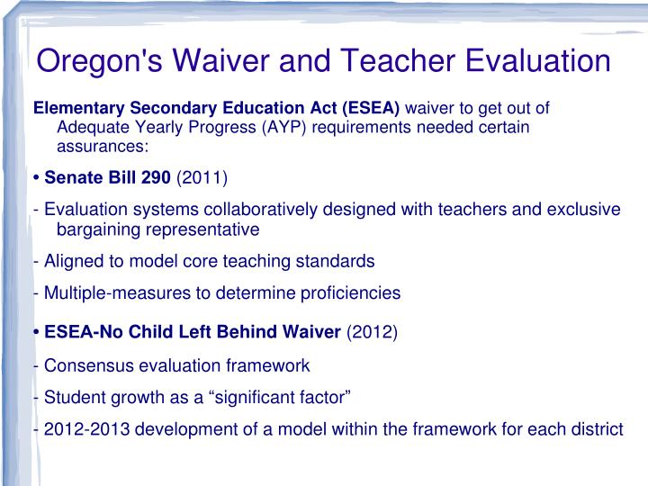 Oregon's Waiver and Teacher Evaluation