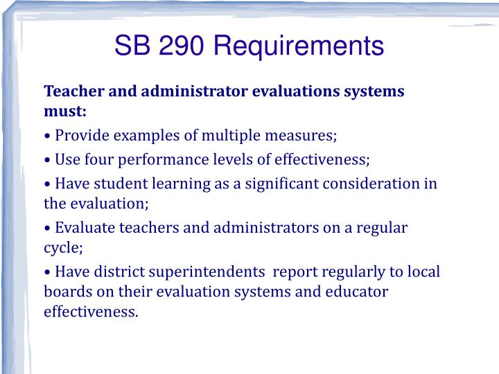 SB 290 Requirements