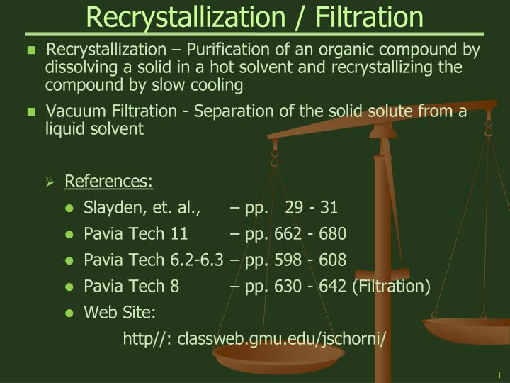 recrystallization lab report Purification of a solid by recrystallization and identification by melting point determination  refer back to your recrystallization and melting point experiments.