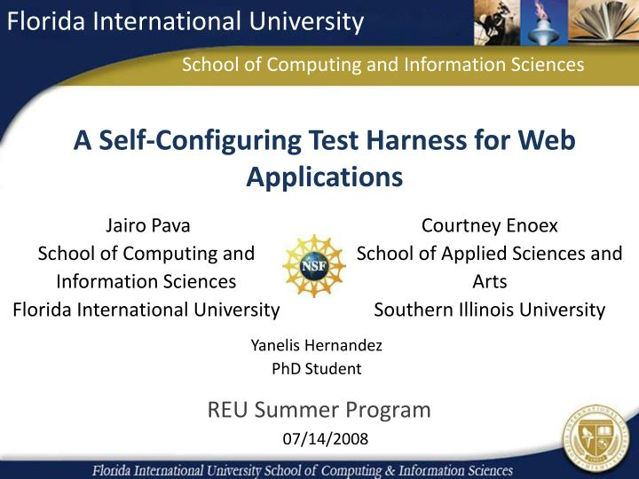 a self configuring test harness for web applications n.