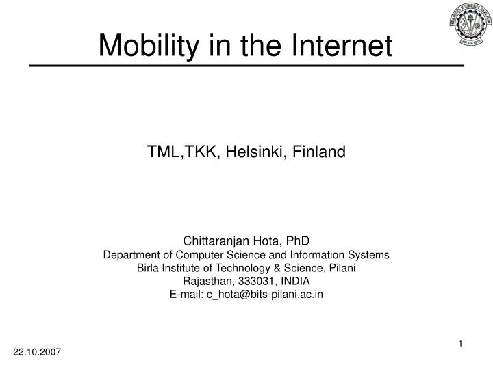 PPT - Mobility in the Internet PowerPoint Presentation - ID