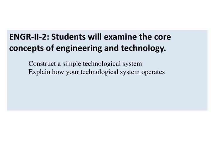 ENGR-II-2: Students will examine the core concepts of engineering and technology.