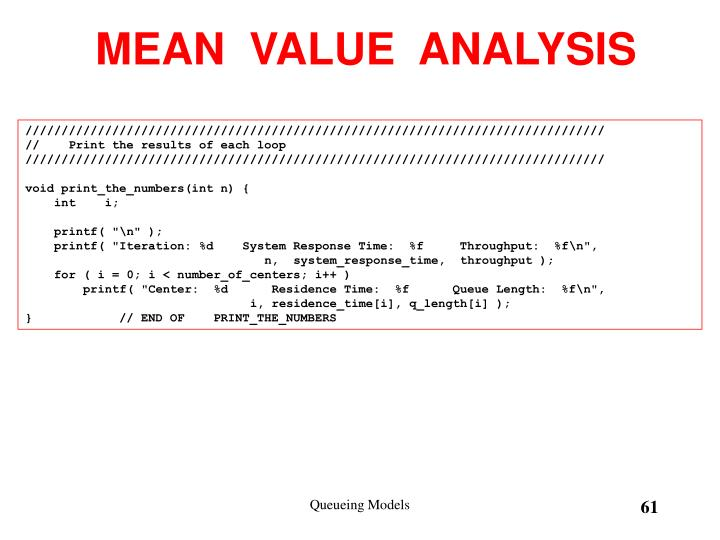 MEAN  VALUE  ANALYSIS