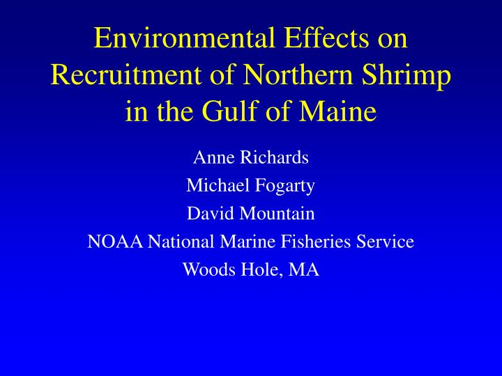 environmental effects on recruitment of northern shrimp in the gulf of maine