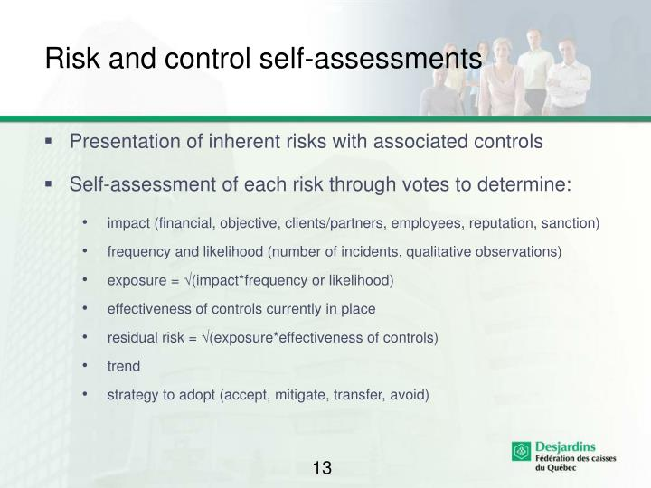 Risk and control self-assessments