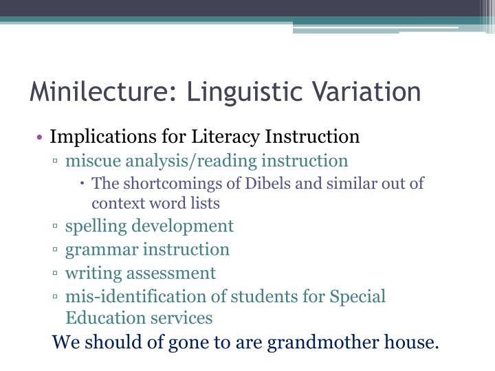 Minilecture: Linguistic Variation