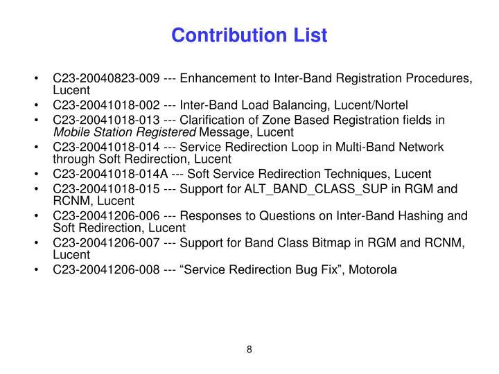Contribution List