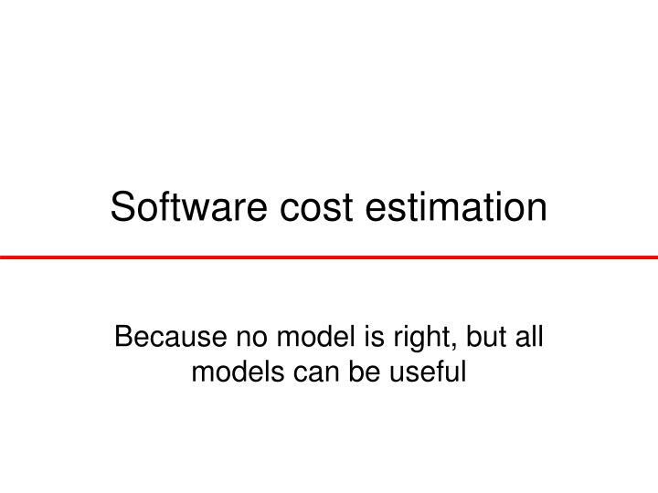 software cost estimation n.