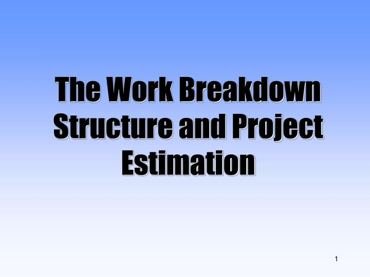 the work breakdown structure and project estimation n.