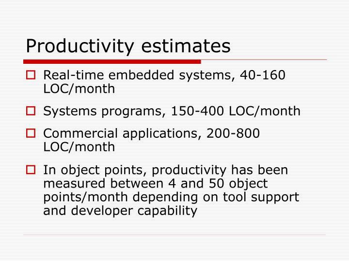 Productivity estimates