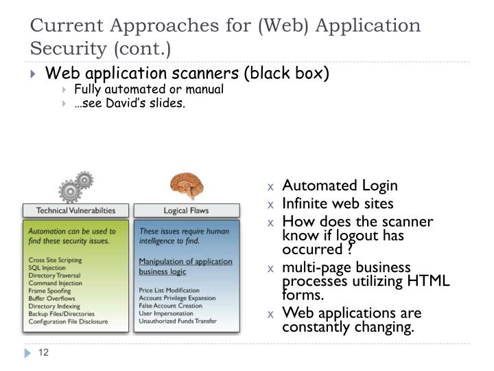 Current Approaches for (Web) Application Security (cont.)