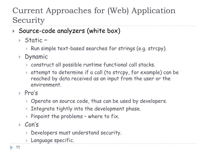 Current Approaches for (Web) Application Security