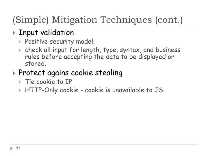 (Simple) Mitigation Techniques (cont.)