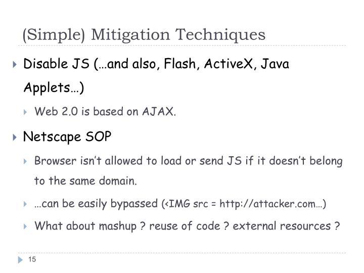 (Simple) Mitigation Techniques