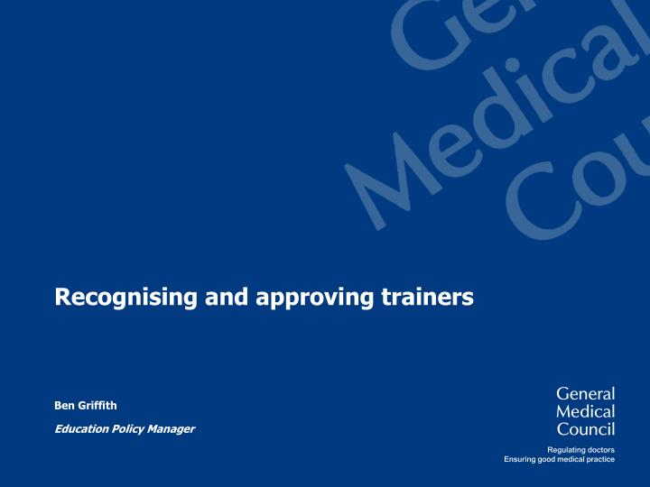 recognising and approving trainers n.