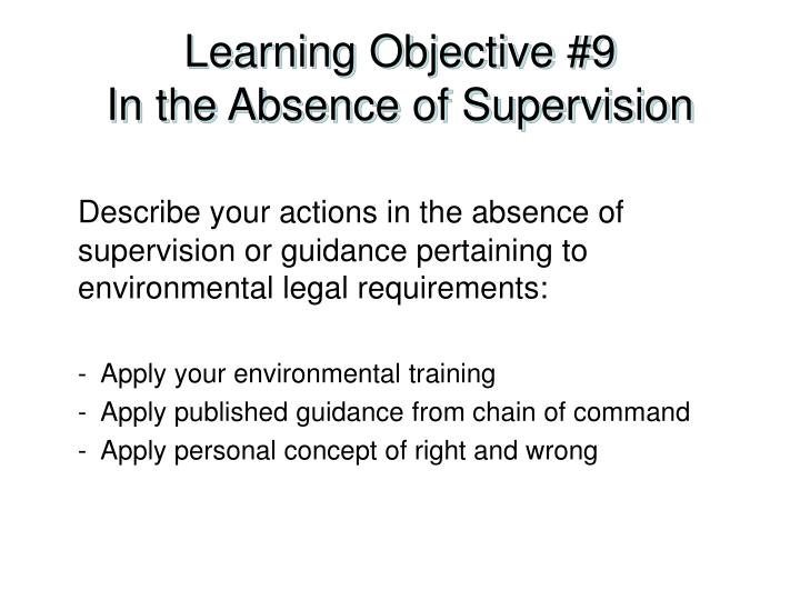 Learning Objective #9