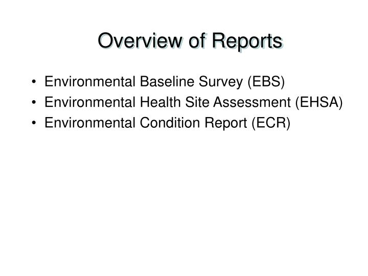 Overview of Reports