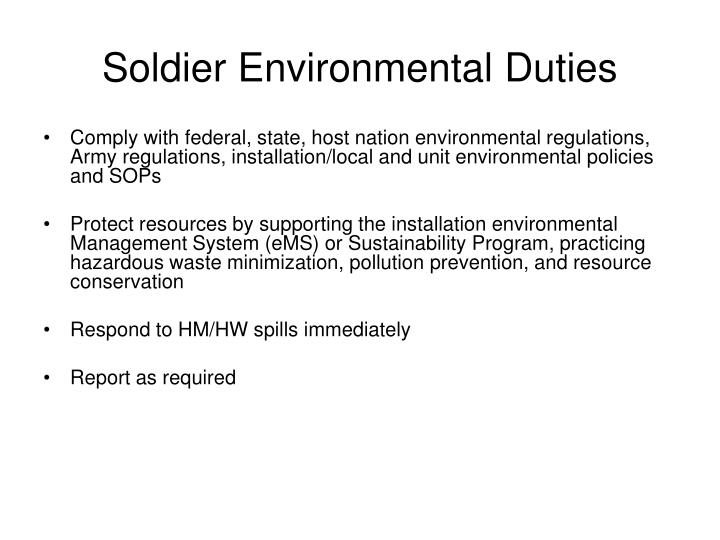 Soldier Environmental Duties