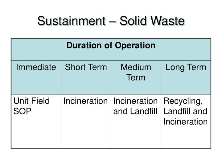 Sustainment – Solid Waste