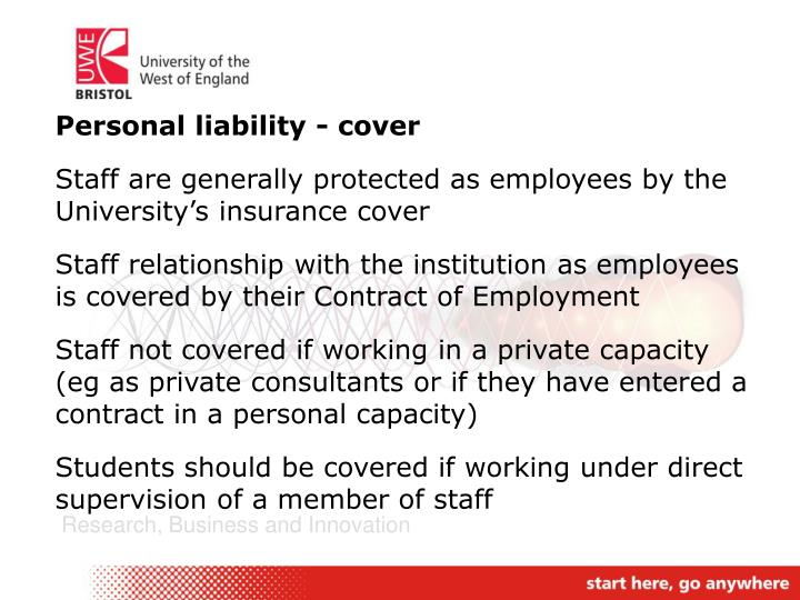 Personal liability - cover