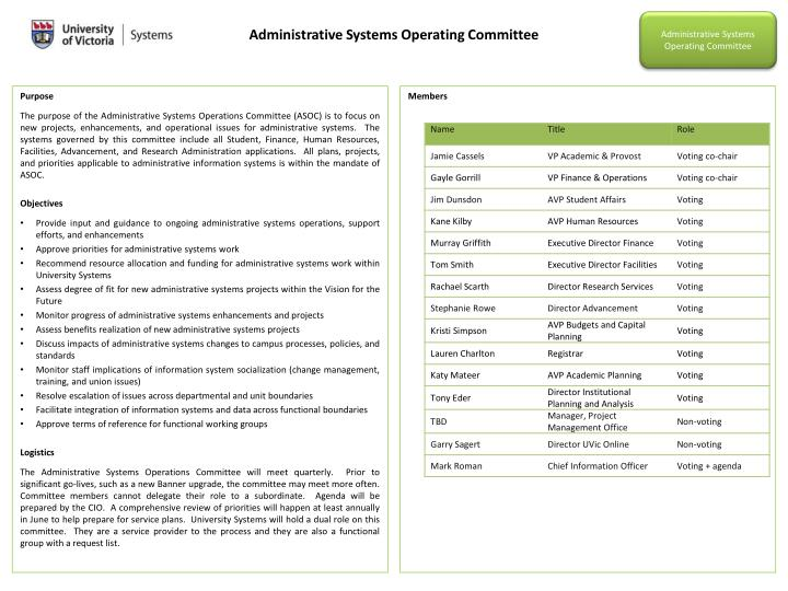 Administrative Systems Operating Committee
