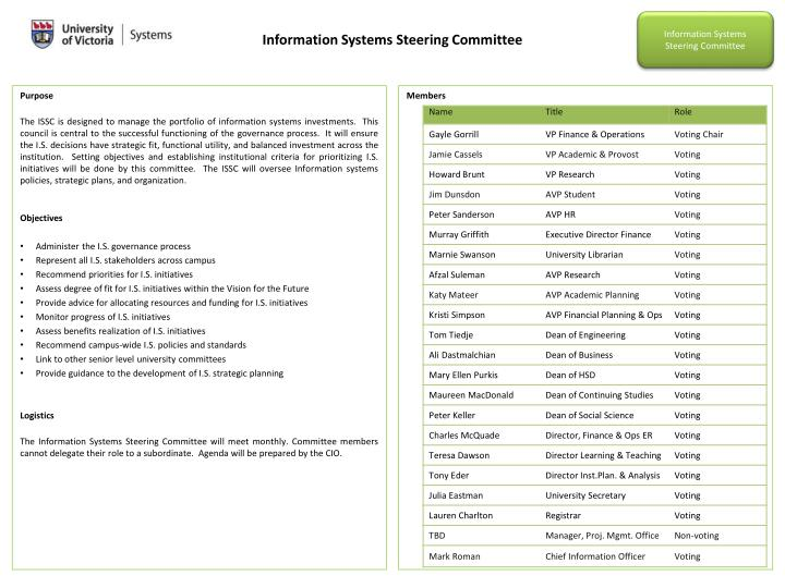 Information Systems Steering Committee