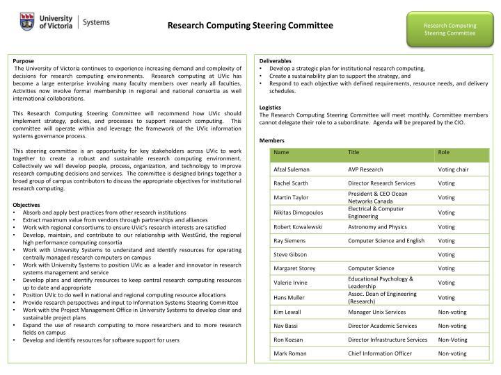 Research Computing Steering Committee