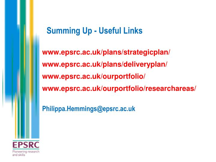 Summing Up - Useful Links