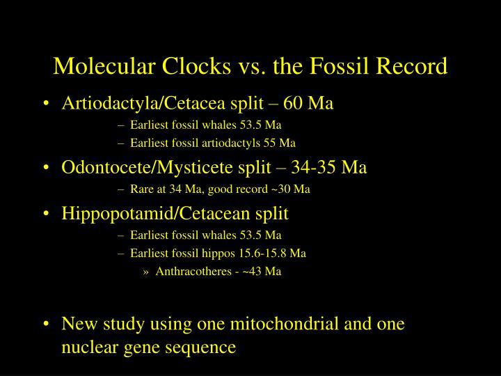 Molecular Clocks vs. the Fossil Record